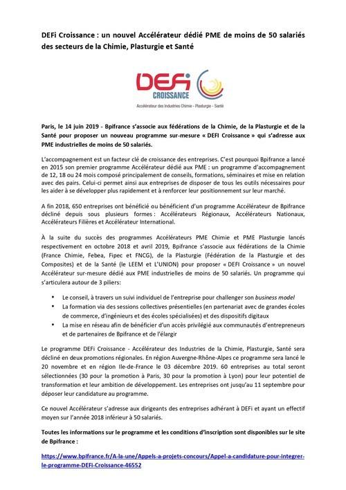 DEFI Croissance, un nouvel Accélérateur dédié aux PME de moins de 50 salariés des secteurs de la Chimie, Plasturgie et Santé
