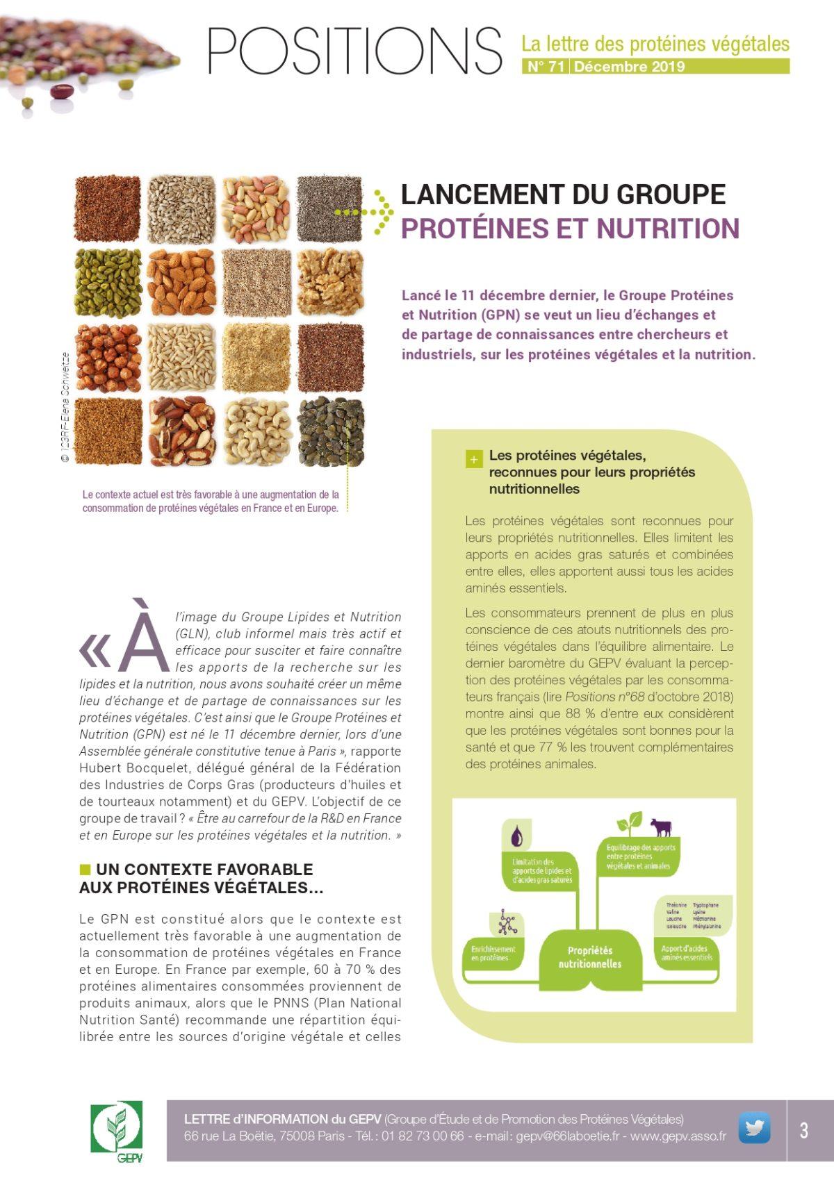 LANCEMENT DU GROUPE PROTÉINES ET NUTRITION