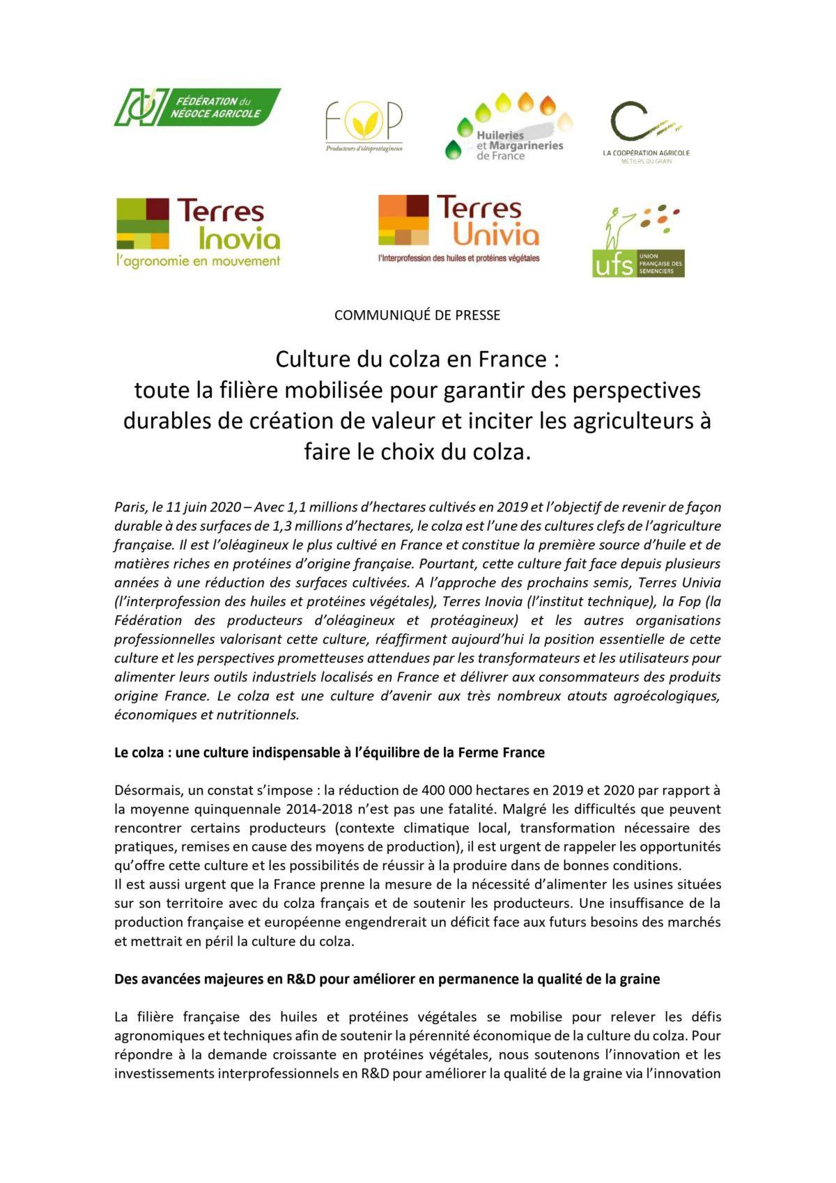 [COMMUNIQUE DE PRESSE] – Culture du colza en France : toute la filière mobilisée pour garantir des  perspectives durables de création de valeur et inciter les agriculteurs à faire le choix du colza