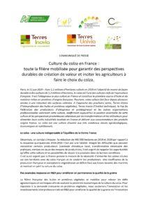 [COMMUNIQUE DE PRESSE] - Culture du colza en France : toute la filière mobilisée pour garantir des  perspectives durables de création de valeur et inciter les agriculteurs à faire le choix du colza