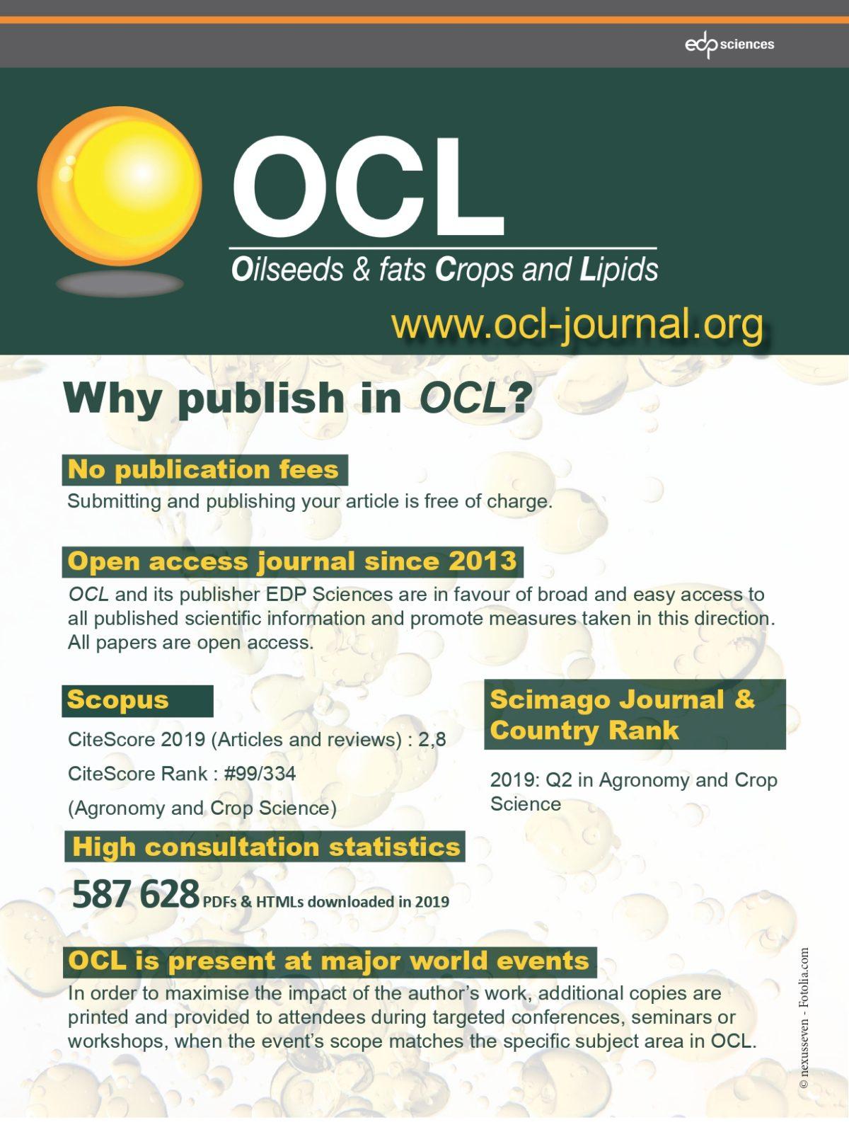Nous sommes fiers de notre revue scientifique OCL journal !